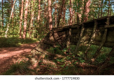 MAZIRBE, LATVIA - AUGUST 31, 2019: View from inside of old, abandoned, dilapidated boats' bow in Mazirbe Boat Cemetary, which was created in 1960s.