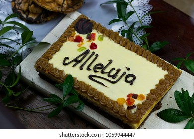 Mazurek - a traditional Polish Easter cake, made of pastry and richly decorated with chocolate, nuts and dried fruits. 'Alleluja' is a Polish word for 'Hallelujah' meaning 'God be praised'.