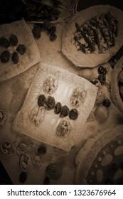 Mazurek traditional polish easter cake on wooden background, close up vintage view