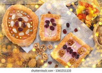 Mazurek traditional polish easter cake on wooden background