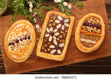Mazurek traditional polish easter cake on wooden background