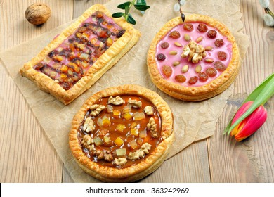 Mazurek trditional polish easter cake on wooden background