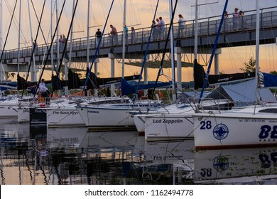 Giżycko, Mazury, Poland- August 2018. Sailing boats parked in Gizycko port