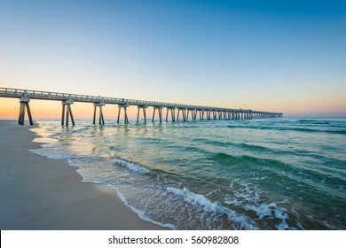 The M.B. Miller County Pier and Gulf of Mexico at sunrise, in Panama City Beach, Florida.