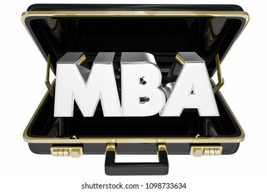 MBA Briefcase Masters Business Administration 3d Render Illustration
