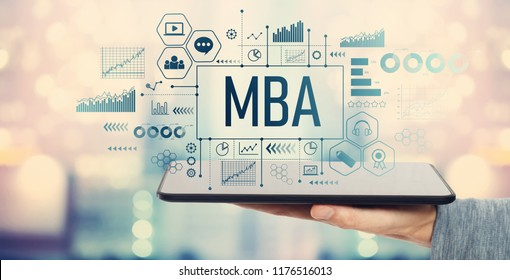 MBA with man holding a tablet computer