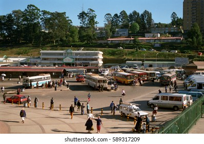 MBABANE, SWAZILAND - JULY 20: Bus station on 20 July 2000 at Mbabane, Swaziland. Mbabane, the capital city is the center of the public transport in Swaziland.