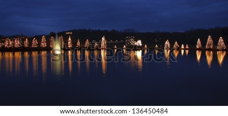 Mcadenville Christmas Lights.Mc Adenville Christmas Lights Around Lake Stock Photo Edit