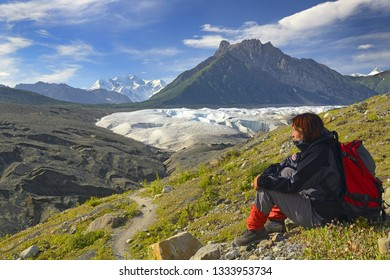 McCARTHY, ALASKA, USA - JULY 25, 2018: Root Glacier Trail, Wrangell-St.Elias Elias National Park, Alaska, UNESCO World Heritage Site