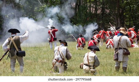 MCCONNELLS, SC - July 11, 2015:  American Revolutionary War reenactors recreate the Battle of Huck's Defeat at Historic Brattonsville, originally fought nearby on July 12, 1780.