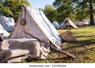 MCCONNELLS, SC (USA) - November 3, 2018:  A Civil War military encampment recreated during a battle reenactment at Historic Brattonsville, a living history museum.
