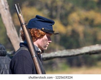 MCCONNELLS, SC (USA) - November 3, 2018:  Closeup portrait of a reenactor portraying a Union soldier at an American Civil War reenactment at Historic Brattonsville, a living history museum.