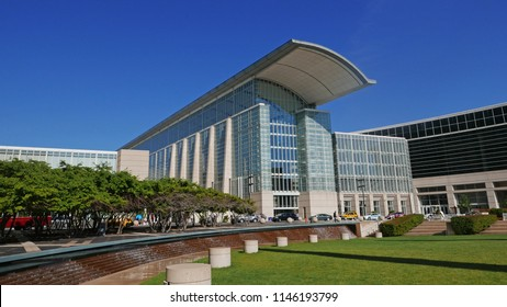 McCORMICK CONVENTION CENTER, CHICAGO USA, JULY 2018; The largest convention center in North America consists of four interconnected buildings with exhibit halls, meeting rooms & theaters. 7-25-2018