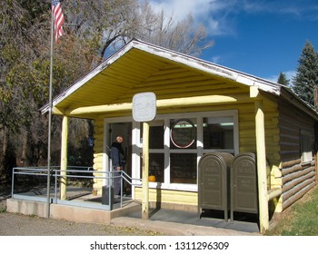McCoy, Colorado USA - November 1, 2011: US. Post Office in a rustic log cabin serves the small rural community in north central Colorado