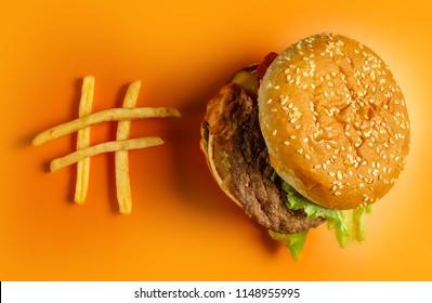 McDonald's Big Mac hamburger. Burger  and french fries