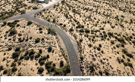 McDowell Mountain Regional Park Drone View Above The Road