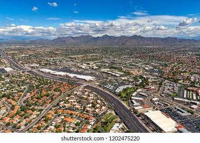 McDowell Mountains in Scottsdale, Arizona from above the Loop 101 freeway looking to the northeast