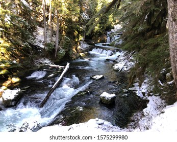 The McKenzie River after a fresh dusting of snow. Willamette National Forest, Oregon