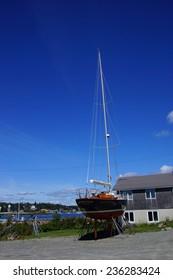 MCKINLEY, MAINE - SEP 15, 2013 - Large boat being overhauled in Bernard Harbor,  Maine,Mount Desert Island, Acadia National Park