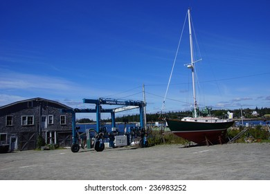 MCKINLEY, MAINE - SEP 15, 2013 - Large boat being overhauled in Bernard Harbor,  Maine,Mount Desert Island, Acadia National Park