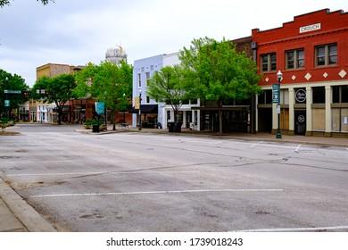 McKinney, Texas / USA - April 5, 2020: Historic Downtown McKinney during COVID-19 lockdown