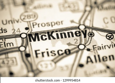 McKinney. Texas. USA on a map