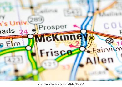 McKinney. Texas. USA on a map
