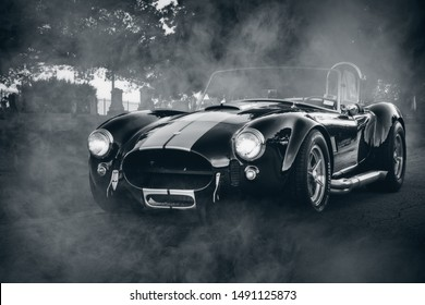 McKinney, TX - 27 August 2019 - Shelby Cobra in black and white