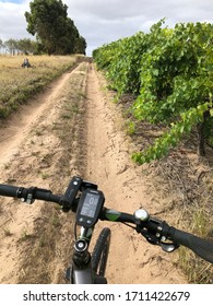 MCLAREN VALE, SOUTH AUSTRALIA, JANUARY 2020; A bicycle on a dirt track running through a vineyard.