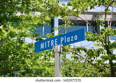 MCLEAN, VA - JUNE 23, 2019: MITRE CORPORATION road sign sign MITRE PLAZA at headquarters