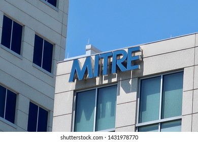MCLEAN, VA - JUNE 23, 2019: MITRE CORPORATION sign on headquarters building