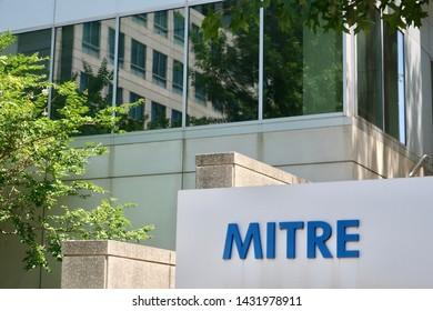 MCLEAN, VA - JUNE 23, 2019: MITRE CORPORATION sign at headquarters building