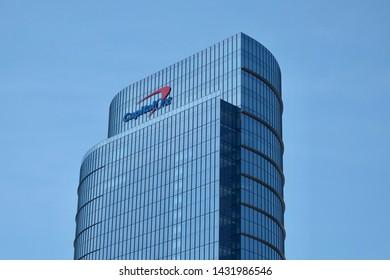 MCLEAN, VA - JUNE 23, 2019: CAPITAL ONE sign on headquarters building