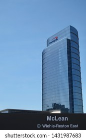 MCLEAN, VA - JUNE 23, 2019: CAPITAL ONE sign on headquarters building with WMATA METRO sign