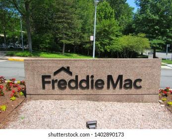 McLean, Va./USA-5/19/19: A sign outside the headquarters of mortgage giant Freddie Mac, in suburban Washington, D.C.
