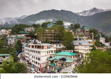 Mcleod Ganj, India - june 7, 2017: McleodGanj city surrounded by Himalaya mountains. View from the Dalai Lama residence in Dharamsala, India