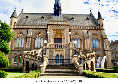 The McManus Galleries, landmark art galleries and exhibition centre in the city of Dundee. stunning gothic revival building with sweeping staircase. Dundee city centre, Tayside Scotland. Sept 2018.