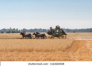 McMinnville, Oregon - August 18, 2018: Old vintage stage coach driven by a team of horses riding through an empty field.