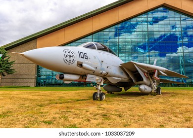 McMinnville, Oregon - August 7, 2016: US Navy Grumman F-14D Super Tomcat on exhibition at Evergreen Aviation & Space Museum.