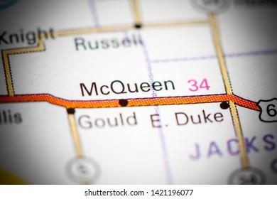 McQueen. Oklahoma. USA on a map
