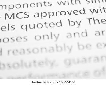 MCS APPROVED... written on a form or contract close up.