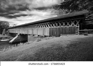 McVetty-McKenzie covered bridge made of wood and dating from 1893 is located in Gould, Lingwick, Estrie, Quebec Canada black and white