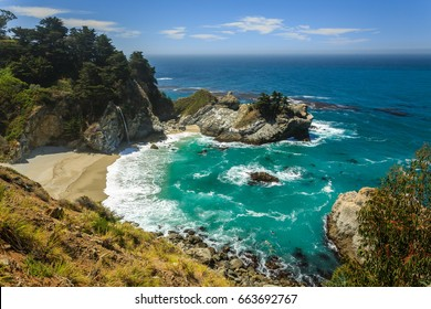 Mcway Falls beach waterfall on the Big Sur Coast of California