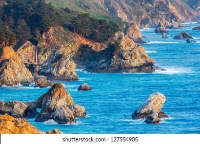 McWay Falls and Big Sur Coastline, California