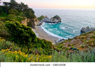 McWay Falls at Julia Pfeiffer Burns State Park in California is one of the few waterfalls in the world that falls directly into the ocean.