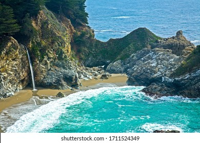 McWay Falls at Julia Pheiffer Burns State Park on the Big Sur Coast, California.