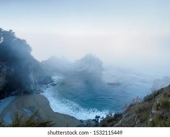 McWay waterfall Big Sur California on foggy morning