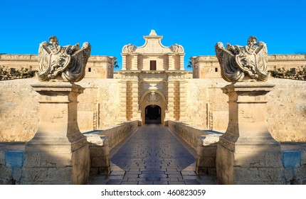 Mdina city gates. Old fortress. Malta