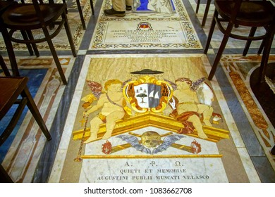 MDINA, MALTA - APR 19, 2018 - Tombstone of inlaid marble in floor of St Paul's Cathedral, Mdina, Malta
