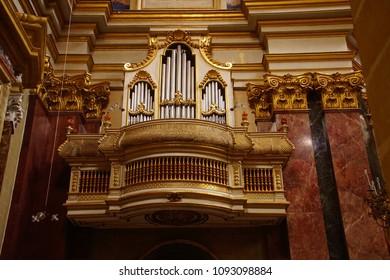 MDINA, MALTA - APR 19, 2018 - Large pipe organ in St Paul's Cathedral, Mdina, Malta